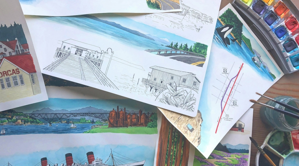 Photo of various hand-drawn and watercolor illustrations accompanied by brushes and palettes of paint