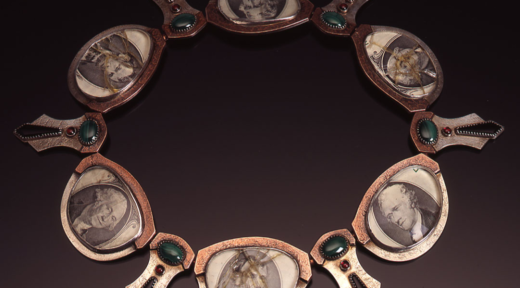 A necklace made from alternating president's portraits from dollar bills framed in (sometimes crushed) glass and silver eye glass frames, with malachite, garnet and oynx set in an abstract feather formation.