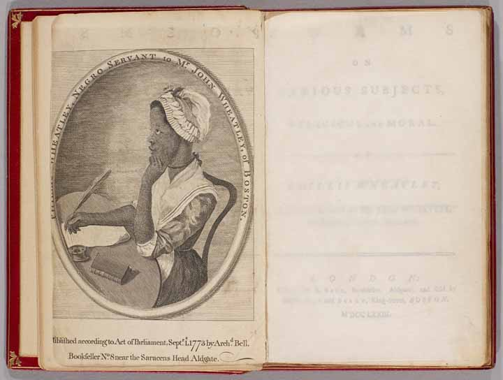 """Photograph of opening page of the book """"Poems on Various Subjects Religious and Moral"""" with the author's portrait."""