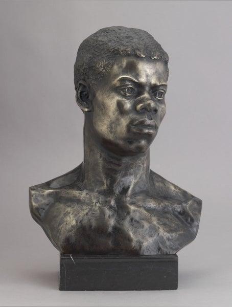 """Photograph of a bronze sculpted bust """"Portrait Bust of an African."""""""