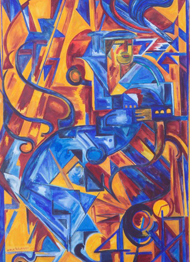 Painting of a series of geometric shapes in various shades of gold, yellow, orange, dark red, light blue, and blue.
