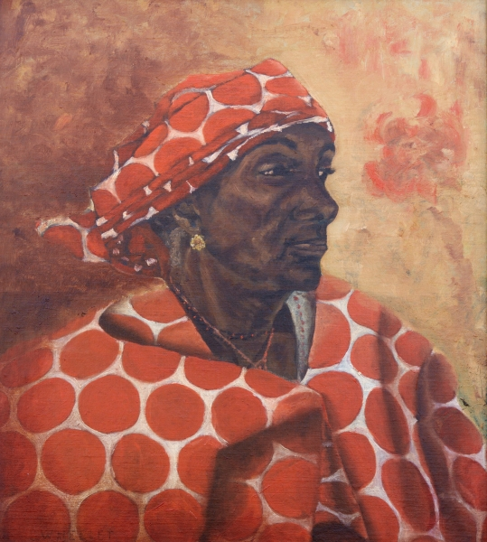 Painting of a dark skinned woman seated in profile wearing an orange and white scarf and head covering.