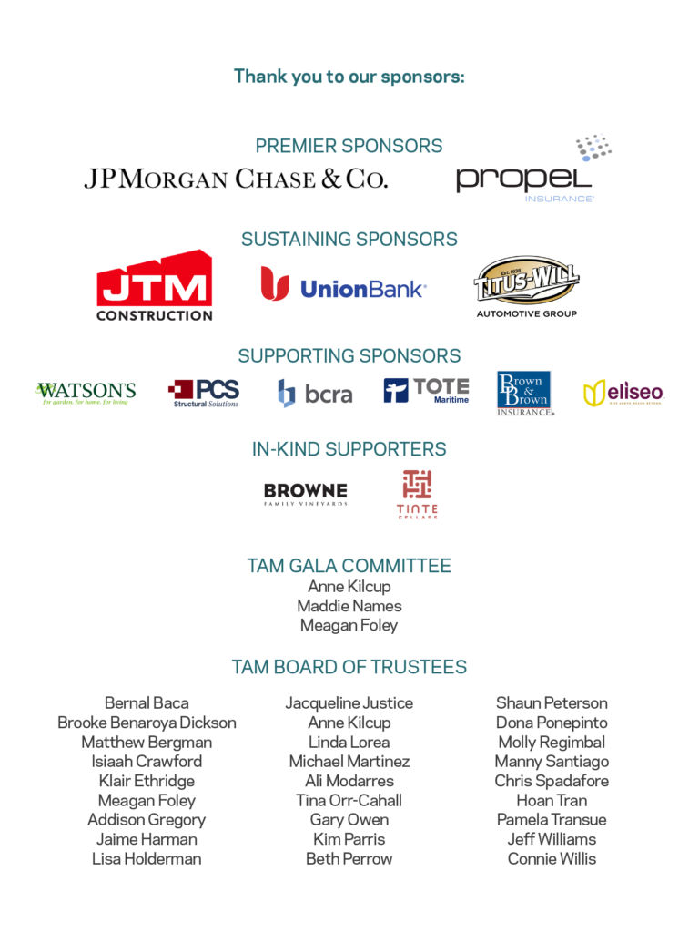 Sponsorship graphic for all TAM Gala 2021 sponsors and partners