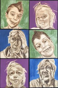 Painting of six faces in various expressions arranged in grid with two people in each row