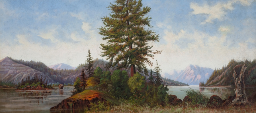 """Painting of a river scene titled """"Untitled (Columbia River scene)"""" by artist Grafton Tyler Brown."""