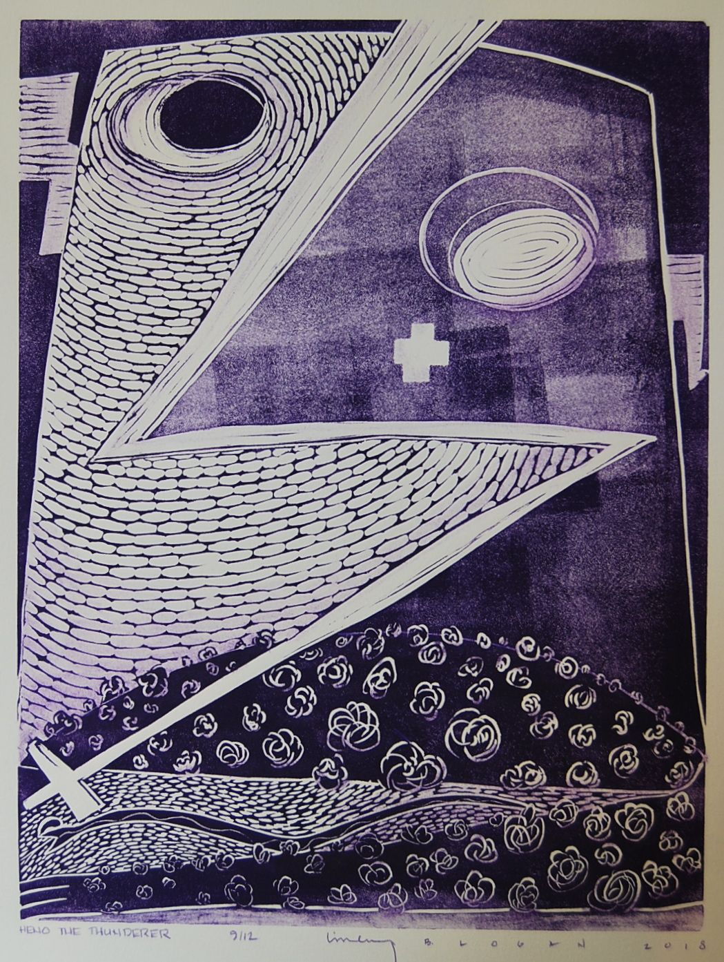 Photo of a work on paper by Native artist Linley B. Logan.