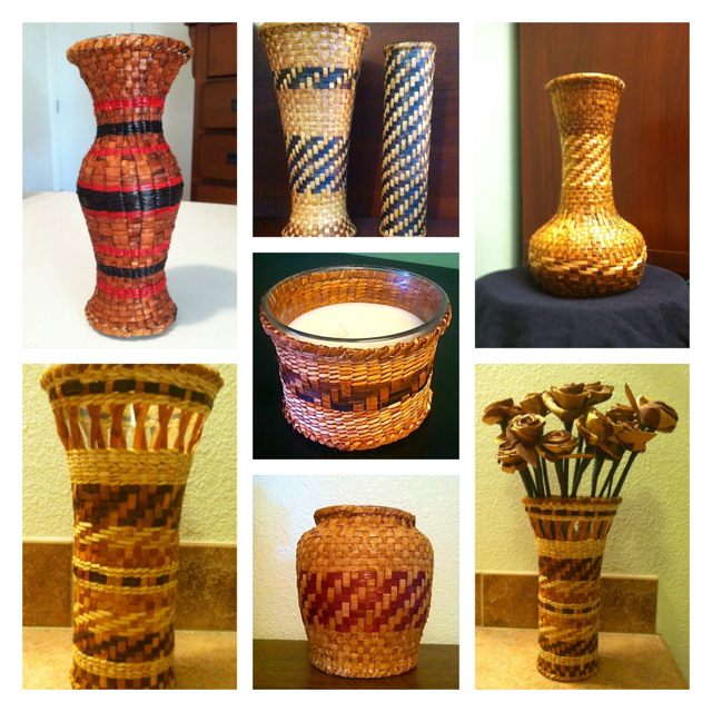 Color photos of various cedar woven baskets of differing shapes and sizes.