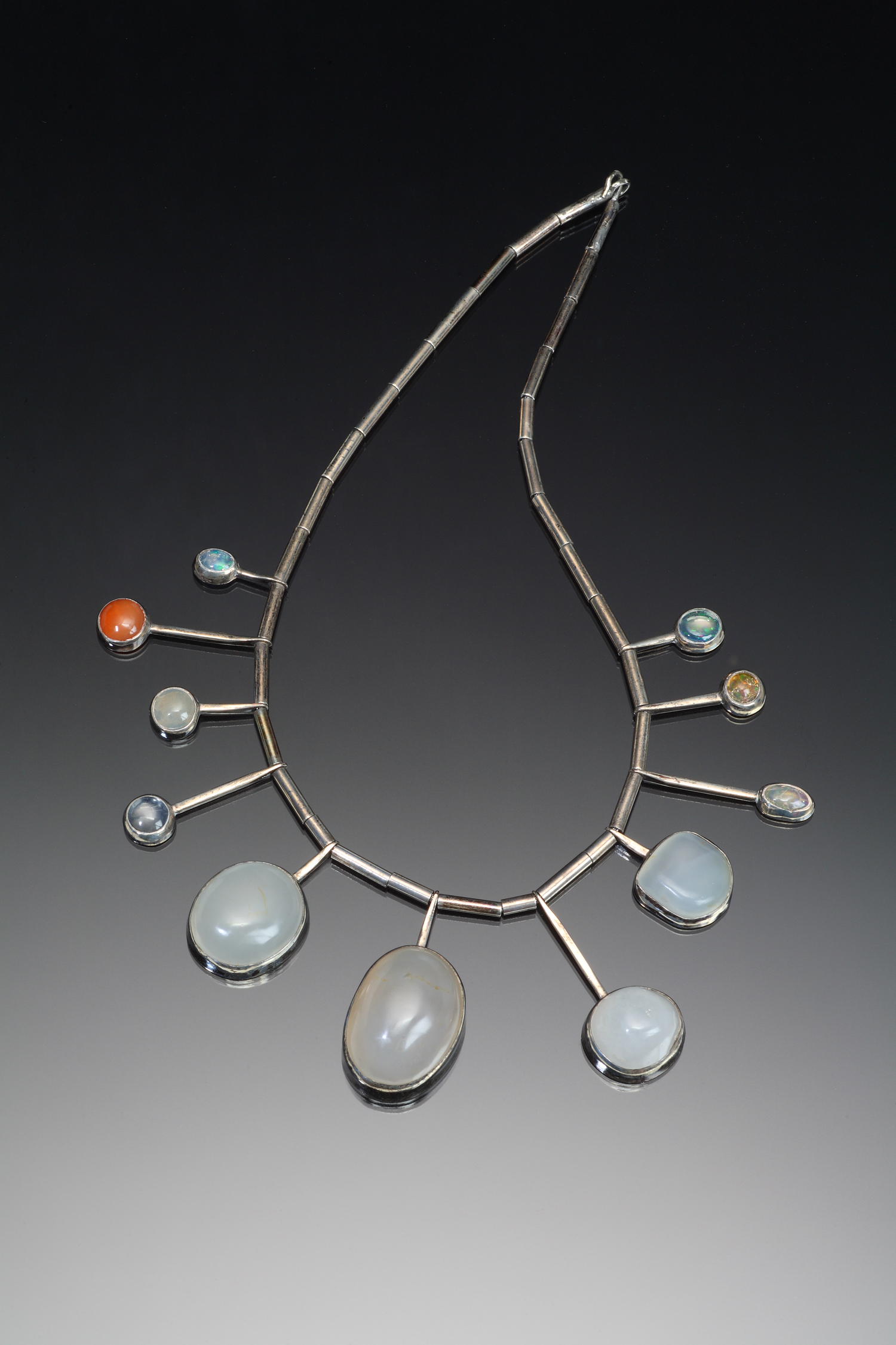 Color photo of opal necklace by artist Ruth Penington