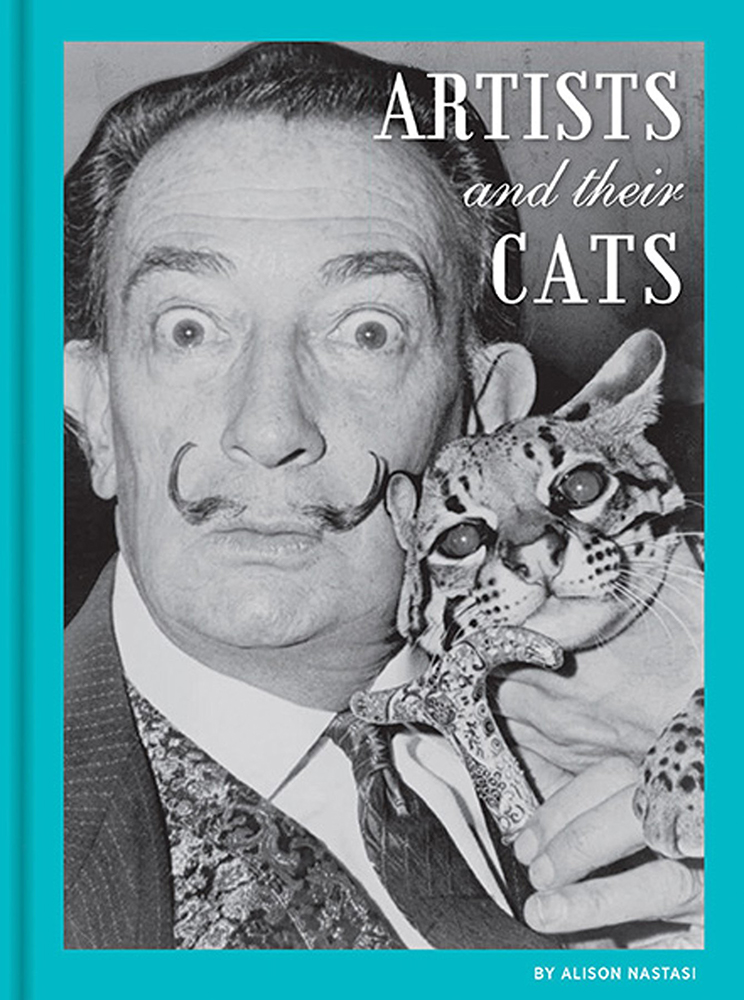 """Cover of the book """"Artists and Their Cats"""" featuring Salvador Dali and his cat."""