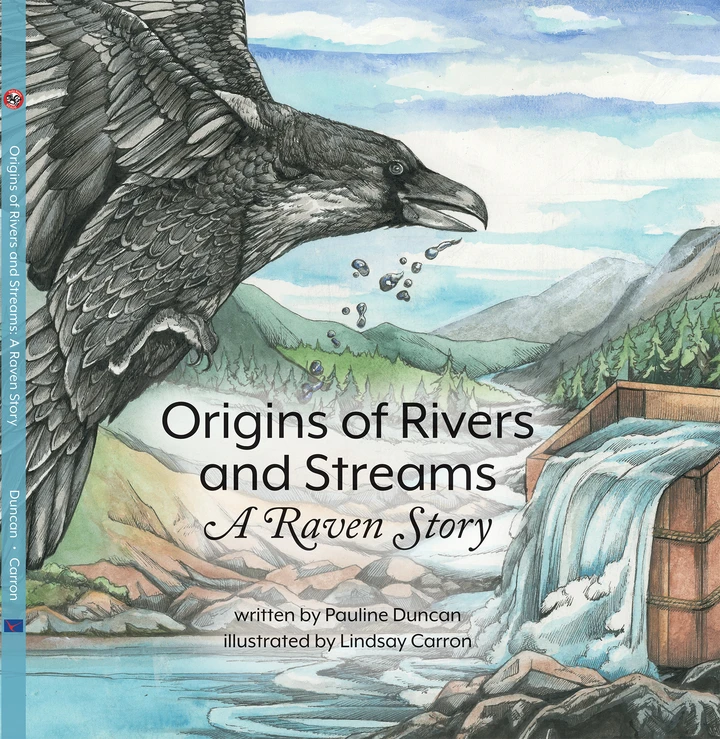 """Cover for the Sealaska/Baby Raven Reads book """"Origins of Rivers and Streams: A Raven Story"""""""
