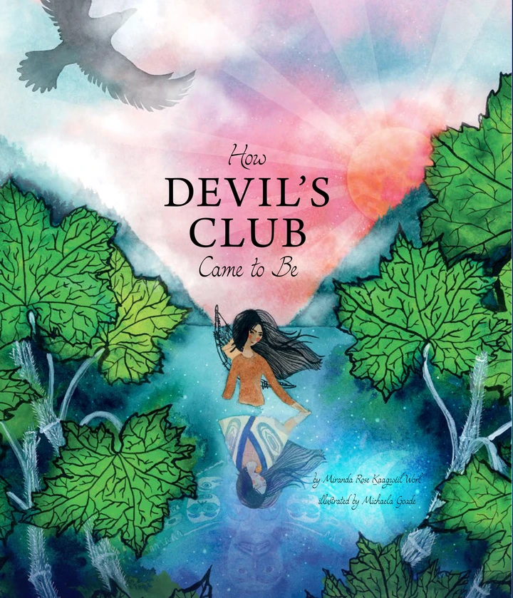 """Cover of the book """"How Devil's Club Came to Be"""" featuring an indigenous figure standing in a stream."""