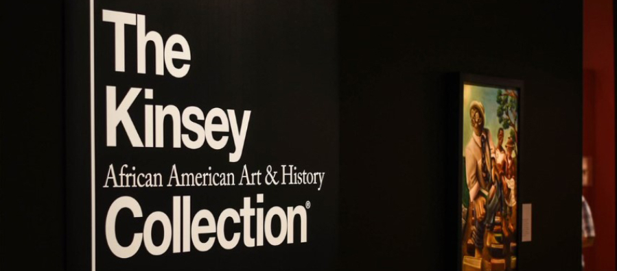 """Photograph of exhibition entrance to """"The Kinsey African American Art & History Collection."""""""