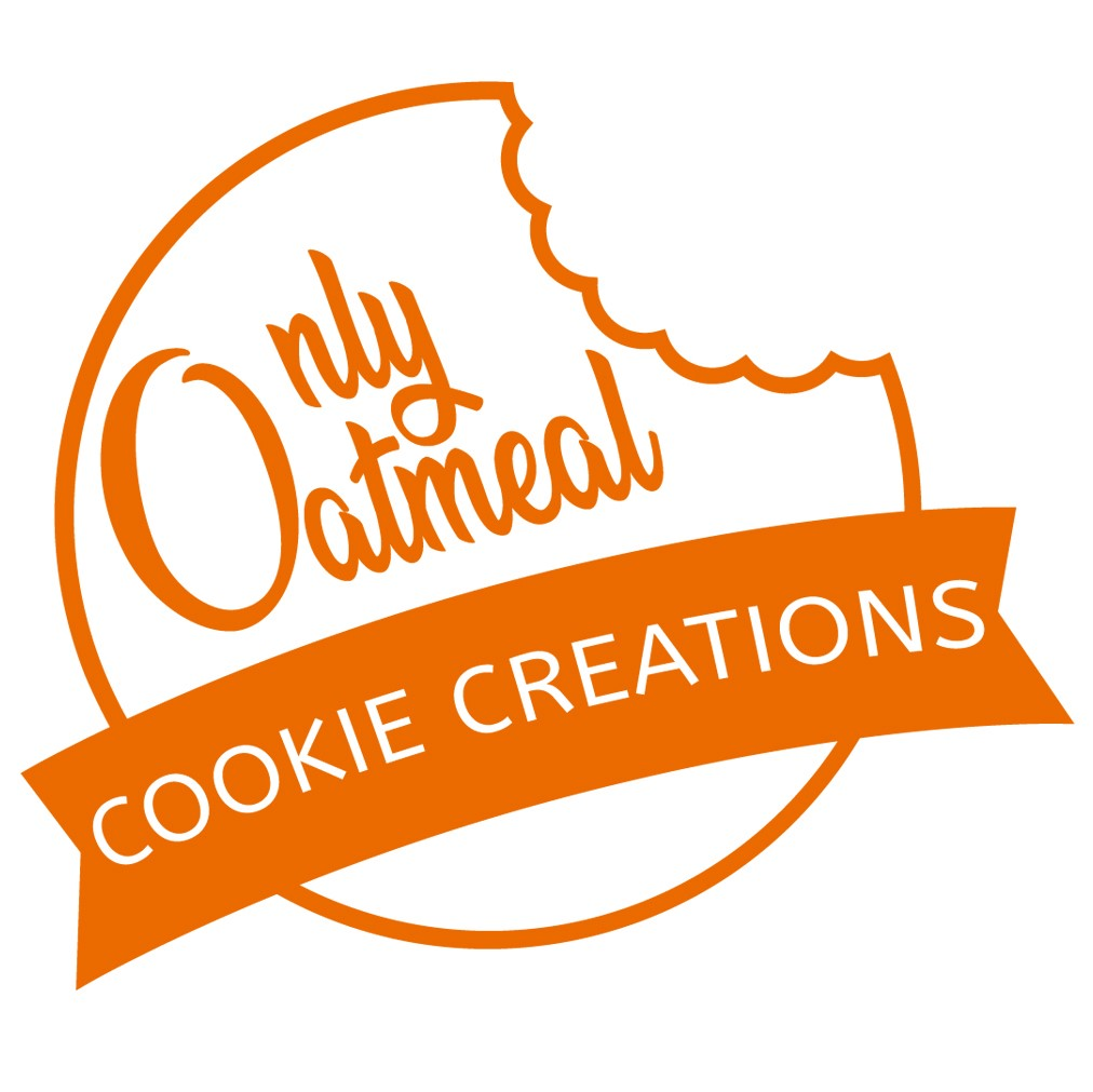 """Orange and white logo reading """"Only Oatmeal Cookie Creations"""" stylized to look like a cookie with a bite taken out of the corner."""